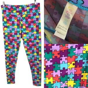 LULAROE Tall & Curvy leggings- PUZZLE PIECES